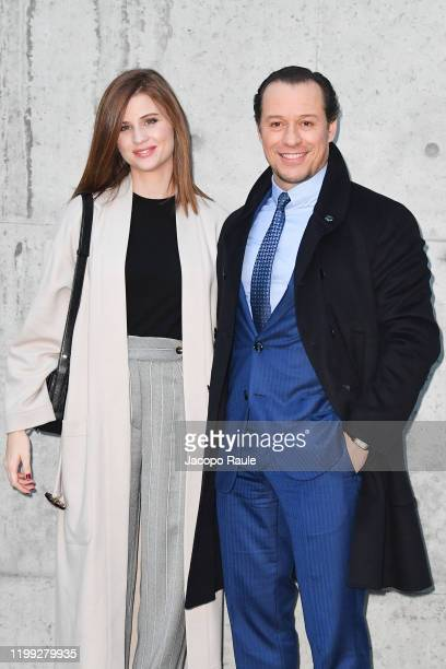 Bianca Vitali and Stefano Accorsi are seen at the Giorgio Armani fashion show on January 13, 2020 in Milan, Italy.