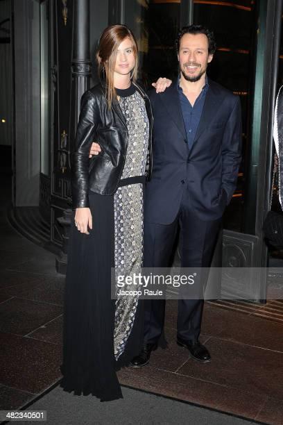 Bianca Vitali and Stefano Accorsi are seen leaving Hotel Principe Di Savoia on April 3 2014 in Milan Italy