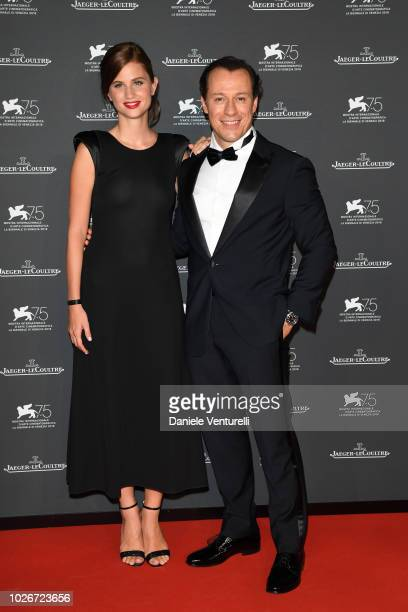 Bianca Vitali and Stefano Accorsi arrive for the JaegerLeCoultre Gala Dinner during the 75th Venice International Film Festival at Arsenale on...