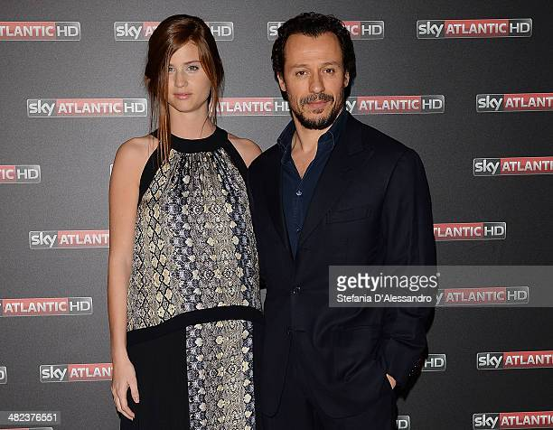 Bianca Vitali and Stefano Accorsi attend the Game Of Thrones premiere on April 3 2014 in Milan Italy