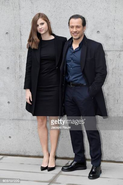 Bianca Vitali and Stefano Accorsi attend the Giorgio Armani show during Milan Fashion Week Fall/Winter 2018/19 on February 24 2018 in Milan Italy
