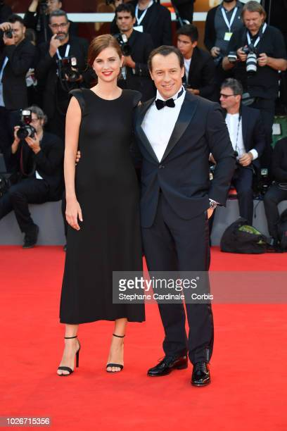 Bianca Vitali and Stefano Accorsi walk the red carpet ahead of the 'Vox Lux' screening during the 75th Venice Film Festival at Sala Grande on...