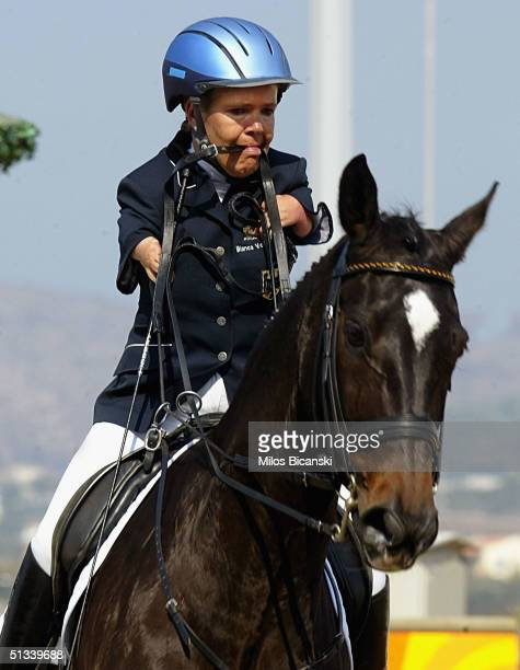 Bianca Vogel of Germany in action riding horse Roquefort 16 during Individual Dressage Free Style testgrade on September 23 2004 at the Athens 2004...