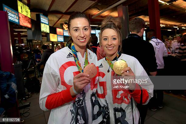 Bianca Walkden and Jade Jones of Great Britain pose with their medals before a Rio 2016 Victory Parade for the British Olympic and Paralympic teams...