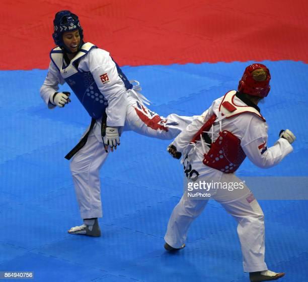 Bianca Walkden of Great Britain against Melani Adamic Golic of Croatia Competes in the Seniors Famale A 67 during 2017 London World Taekwondo Grand...