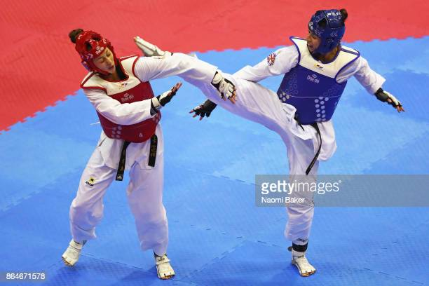 Bianca Walkden of Great Britain and Ana Bajic of Serbia in action during the 2017 WTF World Taekwondo GrandPrix Series at the Copper Box Arena on...
