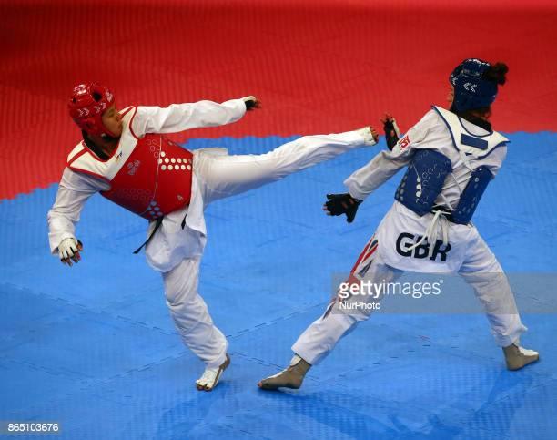 Bianca Walkden of Great Britain and Briseida Acosta of Mexico Seniors Female A 67 Semi Final during 2017 London World Taekwondo Grand Prix G4 at...