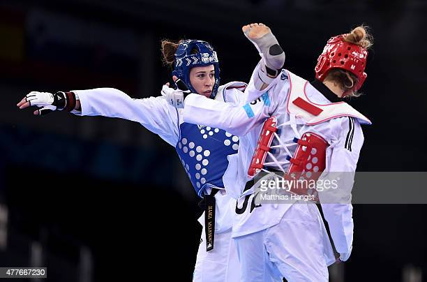 Bianca Walkden of Great Britain and Furkan Aydan of Turkey compete in the Women's 67kg Taekwondo Preliminary Round during day seven of the Baku 2015...