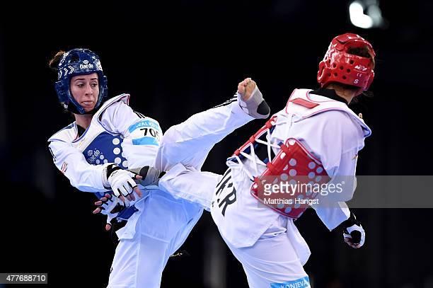 Bianca Walkden of Great Britain and Maryana Konieva of Ukraine compete in the Women's Taekwondo 67kg Qaurter Final during day seven of the Baku 2015...