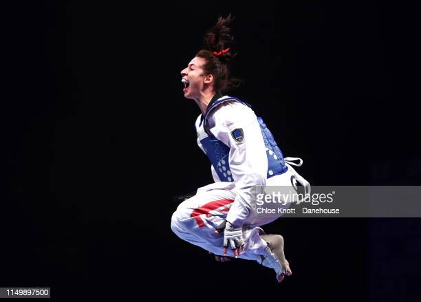 Bianca Walkden of Great Britain celebrates after winning her Final of the Women's 73kg division at The World Taekwondo Championships at Manchester...