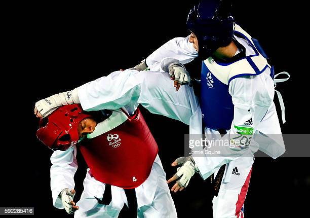 Bianca Walkden of Great Britain competes against Samantha Kassman of Papau New Guinea during Women's 67kg Taekwondo competition at the Rio 2016...