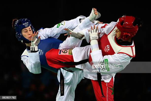 Bianca Walkden of Great Britain competes against Wiam Dislam of Morocco during the Women's 67kg Bronze Medal contest on Day 15 of the Rio 2016...