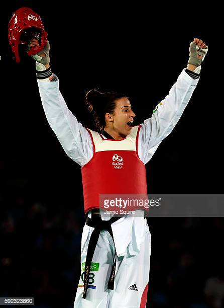 Bianca Walkden of Great Britain reacts after defeating Milica Mandic of Serbia during Women's 67kg Taekwondo Quarterfinals at the Rio 2016 Olympic...