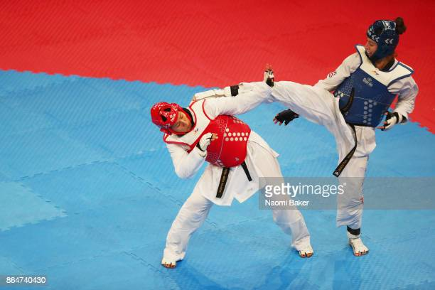 Bianca Walkden of Great Britian and Briseida Acosta of Mexico in action during the 2017 WTF World Taekwondo GrandPrix Series at the Copper Box Arena...