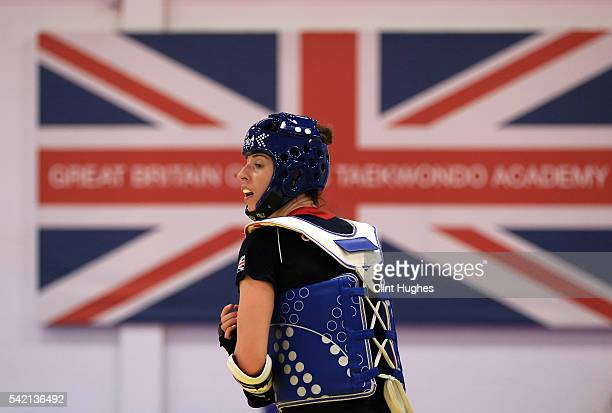 Bianca Walkden trains during the announcement of taekwondo athletes named in Team GB for the Rio 2016 Olympic Games at the National Taekwondo Centre...