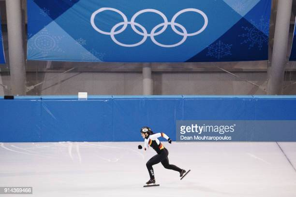 Bianca Walter of Germany in action at the short track training session ahead of the PyeongChang 2018 Winter Olympic Games at the Gangneung Yeongdong...