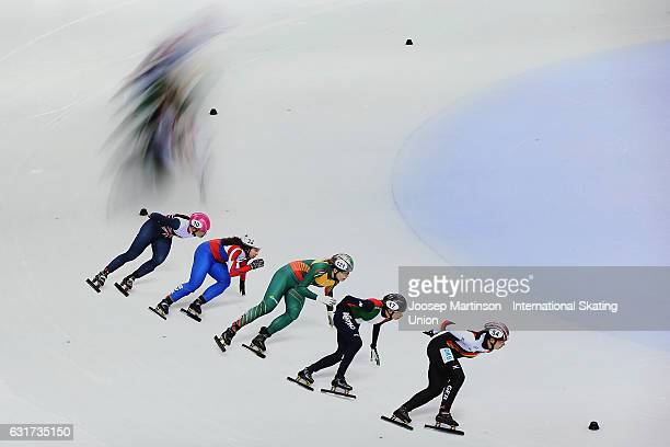 Bianca Walter of Germany leads the pack in the Ladies 1000m quarter final during day 2 of the European Short Track Speed Skating Championships at...