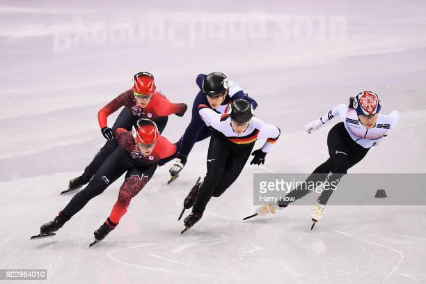Bianca Walter of Germany Veronique Pierron of France Marianne St Gelais of Canada Alang Kim of Korea and Kim Boutin of Canada compete during the...