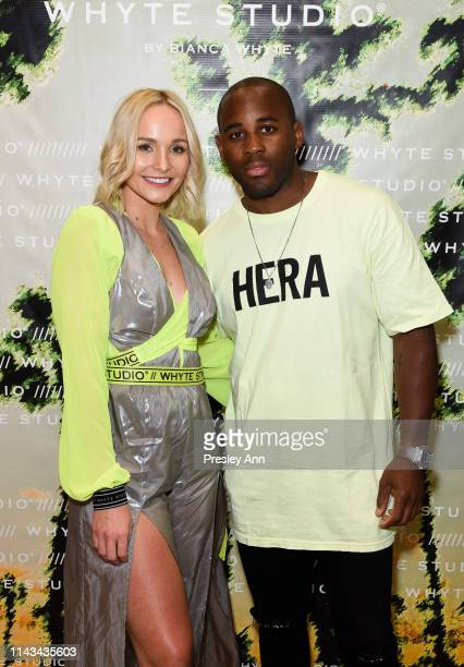 Bianca Whyte and DJ Ange P attend launch event for Whyte Studio's Festival Capsule Collection at Top Shop at the Grove on April 17, 2019 in Los...