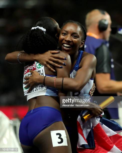 Bianca Williams and Dina AsherSmith of Great Britain celebrate winning gold in the Women's 4x100 metres relay final during day six of the 24th...