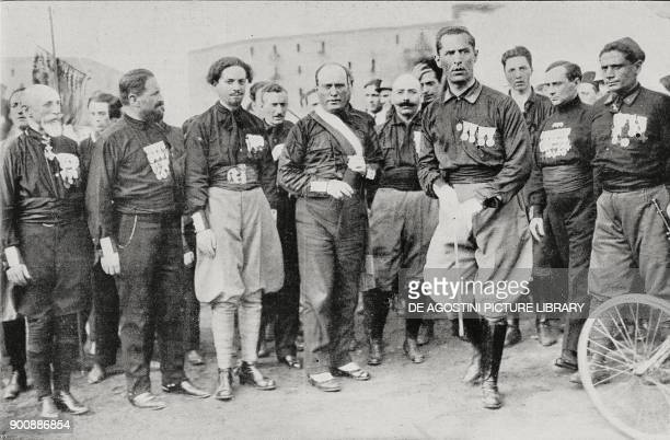 Bianchi Mussolini and De Vecchi the fascist leaders at the gathering in Naples Italy October 24 from L'Illustrazione Italiana Year XLIX No 45...