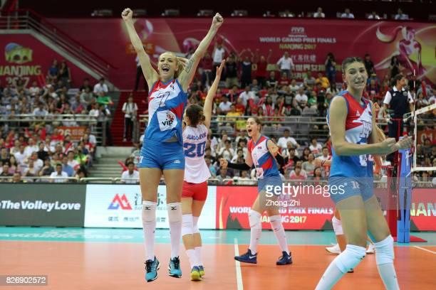 Bianka Busa #7 Ana Antonijevic #18 Tijana Boskovic and team mates of Serbia celebrate winning the match between China and Serbia during 2017 Nanjing...