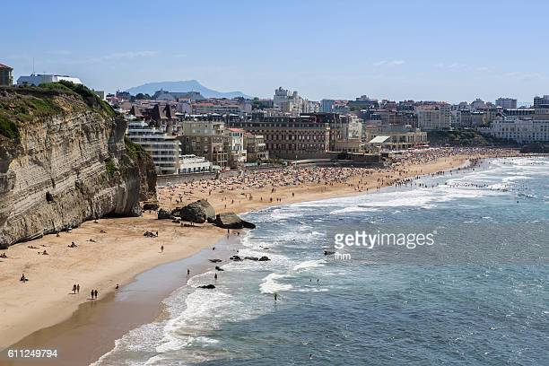 biarritz - beach whith many tourists - aquitaine stock photos and pictures