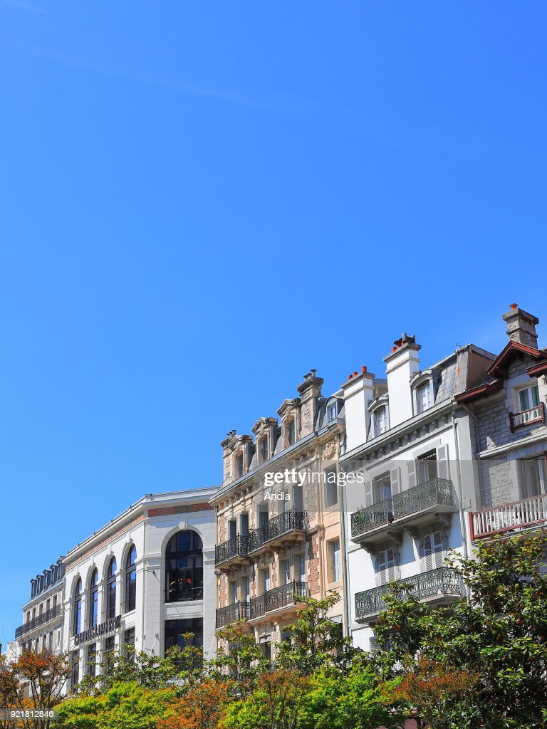 Buildings in the square 'place Clemenceau'. : News Photo