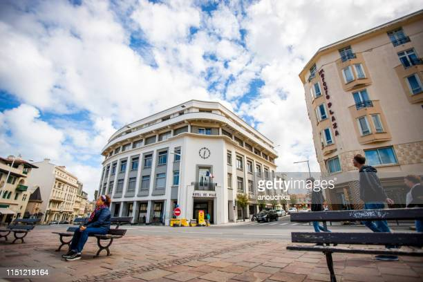 biarritz city center with people exploring and shopping, france - town hall government building stock pictures, royalty-free photos & images