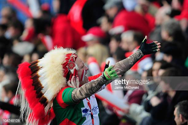 Biarritz fan enjoys the game during the Heineken Cup match between Biarritz and Bath at the Parc des Sports Aguilera on January 22 2011 in Biarritz...