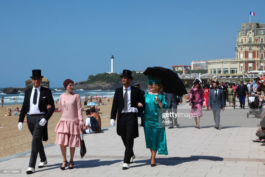 Biarritz (south-western France), on : 'Biarritz Annees Folles', a one day event in the Basque city during which more than 250 volunteers put on costumes from the 20s to step back in time, to this post war period. procession, parade.