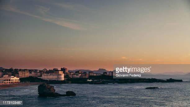 biarritz panorama at sunset - biarritz stock pictures, royalty-free photos & images