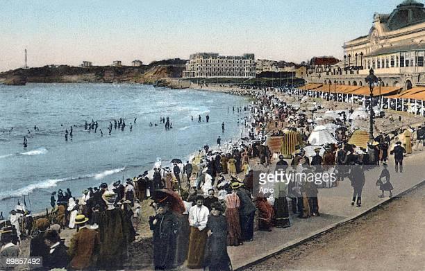 Biarritz the great beach the casino and hotel du Palais postcard c 1900