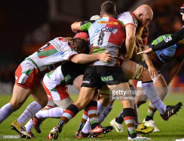 Biarritz's Erik Lund vies for the ball with Harlequins' Nick Easter during the Heineken Cup Round 1 Rugby Union match between Harlequins and Biarritz...