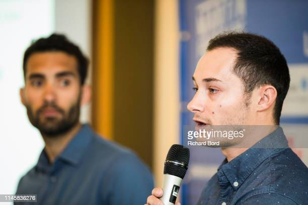 Biathlete and CoEvent Promoter Alexis Boeuf speaks during the Nordic Festival Press Conference at Imperial Hotel on April 29 2019 in Annecy France