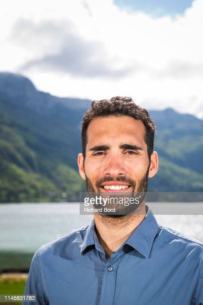 Biathlete and Event Promoter Martin Fourcade poses on the Imperial Hotel terrace after the Nordic Festival Press Conference on April 29 2019 in...