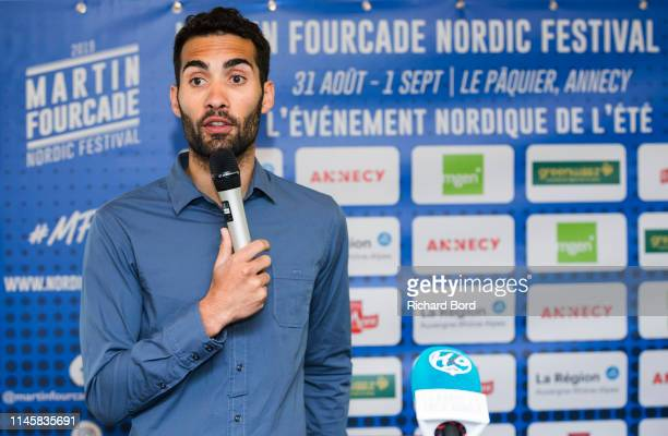 Biathlete and Event Promoter Martin Fourcade speaks during the Nordic Festival Press Conference at Imperial Hotel on April 29 2019 in Annecy France