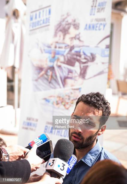 Biathlete and Event Promoter Martin Fourcade speaks to the medias on the Imperial Hotel terrace after the Nordic Festival Press Conference on April...