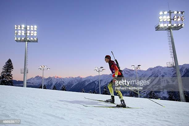 Biathlete Arnd Peiffer of Germany practises ahead of the Sochi 2014 Winter Olympics at the Laura CrossCountry Ski and Biathlon Center on February 5...