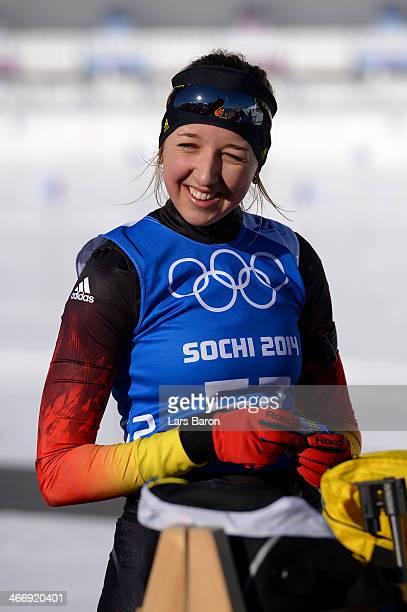 Biathlete Franziska Preuss of Germany smiles during training ahead of the Sochi 2014 Winter Olympics at the Laura CrossCountry Ski and Biathlon...