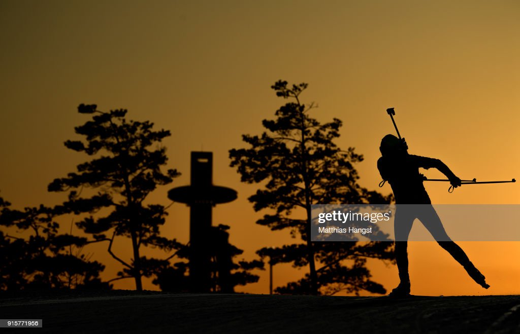 A biathlete from China trains ahead of the PyeongChang 2018 Winter Olympic Games at Alpensia Biathlon Centre on February 8, 2018 in Pyeongchang-gun, South Korea.