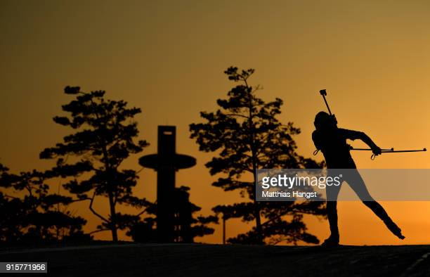 A biathlete from China trains ahead of the PyeongChang 2018 Winter Olympic Games at Alpensia Biathlon Centre on February 8 2018 in Pyeongchanggun...