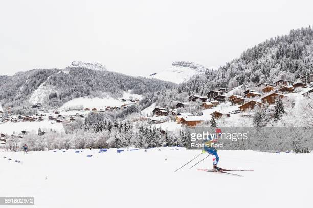 A biathlete in action during the second day of training during the IBU Biathlon World Cup on December 13 2017 in Le Grand Bornand France