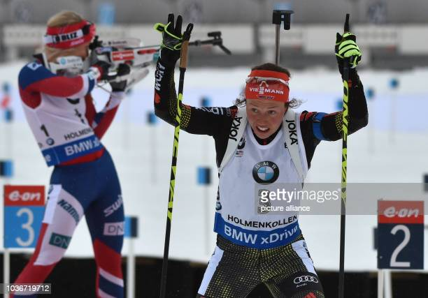 Biathlete Laura Dahlmeier of Germany in action during the womens's 10km pursuit competition at the Biathlon World Championships in the Holmenkollen...