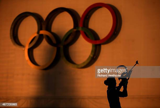 Biathlete Laura Dahlmeier of Germany shoots during a training session ahead of the Sochi 2014 Winter Olympics at the Laura Cross-Country Ski and...