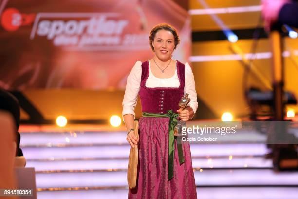 Biathlete Laura Dahlmeier with award during the 'Sportler des Jahres 2017' Gala at Kurhaus BadenBaden on December 17 2017 in BadenBaden Germany