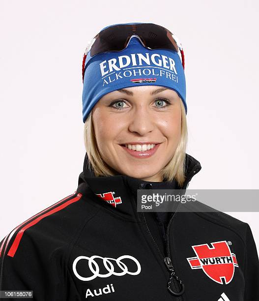 Biathlete Magdalena Neuner of Germany poses during a photo call on October 26 2010 in Ingolstadt Germany