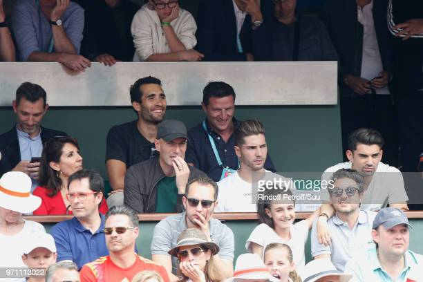 Biathlete Martin Fourcade Zinedine Zidane his wife Veronique and their sons Luca and Enzo attend the Men Final of the 2018 French Open Day Fithteen...