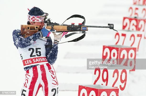 Biathlete Nancy Bell shooting during the women's 7.5 km Biathlon, held at Les Saises Resort, during the 1992 Winter Olympics in Albertville, France.