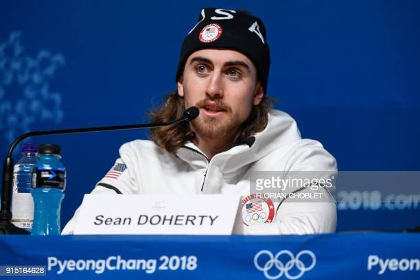 US biathlete Sean Doherty holds a press conference ahead of the Pyeongchang 2018 Winter Olympic Games on February 7 2018 in Pyeongchang South Korea /...